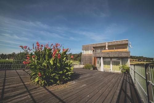 Zahrada s dřevěnou terasou